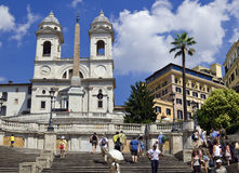 Rome - Spanish Steps. Piazza di Spagna is one of the most popular squares of Rome; probably because in the square are the well-known Spanish Steps and Fountain Royalty Free Stock Photography