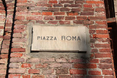Rome square. Plaque with inscription in square Royalty Free Stock Images