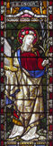 Rome - The St. Cecilia on the stained glass of All Saints` Anglican Church by workroom Clayton and Hall 19. cent. Royalty Free Stock Images