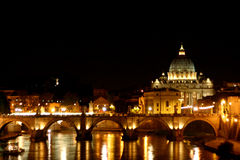 Rome -  St. Peter´s basilica by night. Rome – the greatest and bigest city in europe Royalty Free Stock Photography