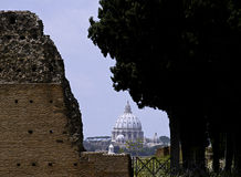Rome - St Peter's dome from palatino Hill Stock Images