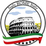 Rome stamp. Rome grunge rubber stamp and flag Stock Photo