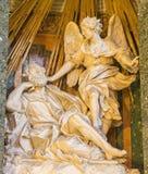 Rome - The statue of Apparition of angel to st. Joseph by Demenico Guidi (1600)  in church Chiesa di Santa Maria della Vittoria. Royalty Free Stock Images