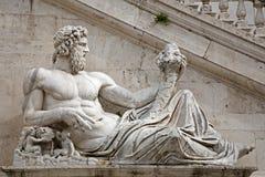Rome - statue of Tiber for Palazzo Senatorio Royalty Free Stock Photography