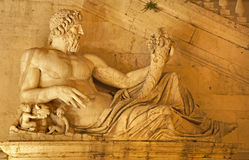 Rome - statue of Tiber for Palazzo Senatorio Royalty Free Stock Image