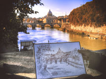 Rome. The street artist's drawing Stock Photos
