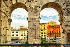 Rome street view from Coliseum (Colosseum) Royalty Free Stock Photos