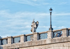 Rome street view sculpture Detail on Tevere bridge. Castel Santangelo Stock Photography