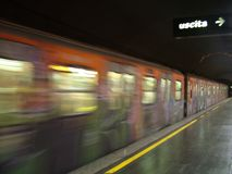 Rome subway. Rushing by Stock Photography