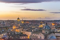 Sunset Scene Rome Cityscape Aerial View. Rome sunset cityscape aerial shot from vitorio emanuelle monuent viewpoint Stock Images