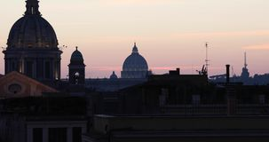 Rome sunset St.Peter`s Dome landscape 4k real video stock footage