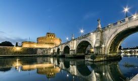 Rome sunset, Tevere river bridge under Santangelo Castle. Rome sunset, Tevere river bridge under Castel Santangelo Stock Photos