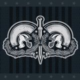 Rome sword between two Spartan helmets into olive branches. Heraldic vintage label on black. Board vector illustration