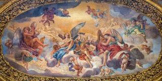 Rome - T painting The Glory of the Angels by Luigi Garzi (17. cent.) in church Basilica dei Santi Ambrogio e Carlo al Corso. Stock Image
