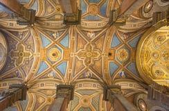 Rome - takfreskomålningen i kyrklig Santa Maria dellAnima från 16 cent vid Ludovico Seitz Arkivbilder