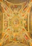 Rome - takfresocen vid G B Ricci (1585) i kyrkliga Chiesa di San Agostino och kapell av St Nicholas av Tolentino Arkivbild