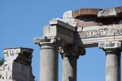 Rome, Tempel van Saturn in Roman Forum Royalty-vrije Stock Afbeeldingen