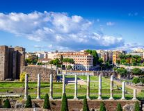 Rome. Temple of Venus and Rome in the area of Colosseum stock image