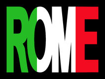 Rome text with Italian flag stock illustration
