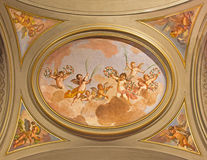 Free ROME: The Symbolic Fresco Of Angels With The Flowers On The Ceiling Of Side Nave In Church Basilica Di Santi Giovanni E Paolo Royalty Free Stock Photos - 77021428