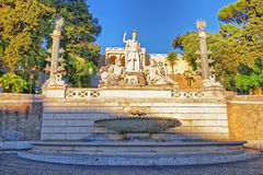 Rome between Tiber and Aniene Fountain in Piazza del Popolo Royalty Free Stock Photos