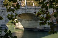 Rome, tiber with the bridge of angels. stock photo
