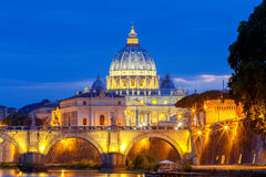 Rome. The Tiber River and Saint Peter`s Cathedral. Royalty Free Stock Photography