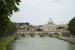 Rome from the Tiber River Royalty Free Stock Photo