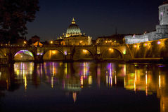 Rome. tiber river with the St peter's basilica Royalty Free Stock Image
