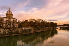 Rome - The Tiber River at sunset Royalty Free Stock Photography