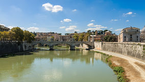 Rome Tiber River waterfront, views of the residential developmen. T Royalty Free Stock Photography