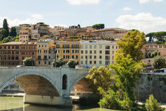 Rome Tiber River waterfront. Views of the residential development Royalty Free Stock Images