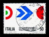 Rome-Tokyo flyg, serie, circa 1970 Arkivbild