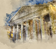 Rome tourist attraction - the famous Pantheon royalty free illustration