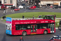 Rome. Tourist red bus. Venice square, historic center Stock Photos