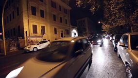 Rome Traffic Night stock video footage