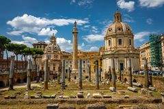 Rome Trajan`s Column Architecture in Rome City Center royalty free stock photo