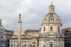 Rome, Trajan's Column and church Royalty Free Stock Photo