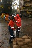 Rome treft aan het overlopen ot Tiber voorbereidingen Royalty-vrije Stock Foto