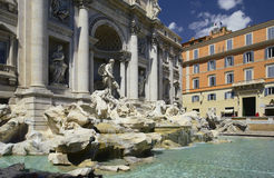 Rome - Trevi Fountain - Italy. Trevi Fountain (Fontana-di-Trevi) in the city of Rome in Italy. It is the largest and most famous of the fountains of Rome Stock Photography