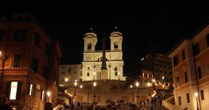 Rome Trinità dei Monti church, spanish steps and Spain square 4k real video. In the night stock video footage