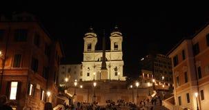 Rome Trinità dei Monti church, spanish steps and Spain square 4k real video stock video footage