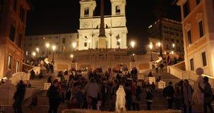 Rome, Trinità dei Monti church, spanish steps and Spain square 4k real video stock footage
