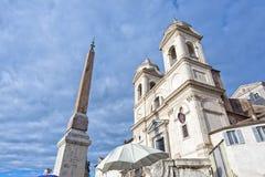 Rome trinit� dei monti church and obelisk Stock Image