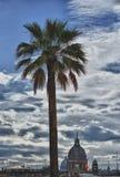 Rome trinita dei monti church and obelisk Royalty Free Stock Photos