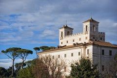 Rome trinita dei monti church and obelisk Stock Photos