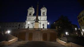 Trinita dei Monti church, spanish steps and Spain square stock video