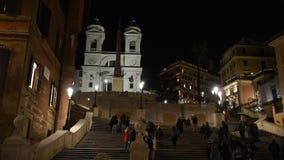 Trinita  dei Monti church, spanish steps and Spain square stock video footage