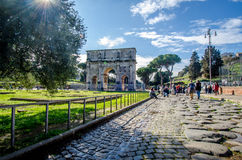 Rome Triumph arch. Blue sky and sun Royalty Free Stock Images