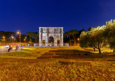 Rome. Triumphal Arch of Constantine. Night view of triumphal arch of Constantine. Rome. Italy Royalty Free Stock Images
